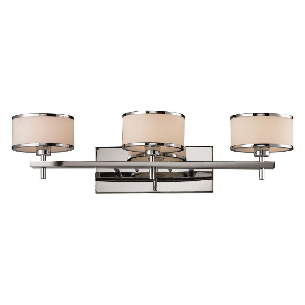 Titan Lighting Utica 3-Light Polished Chrome Wall Mount Bath Bar ...