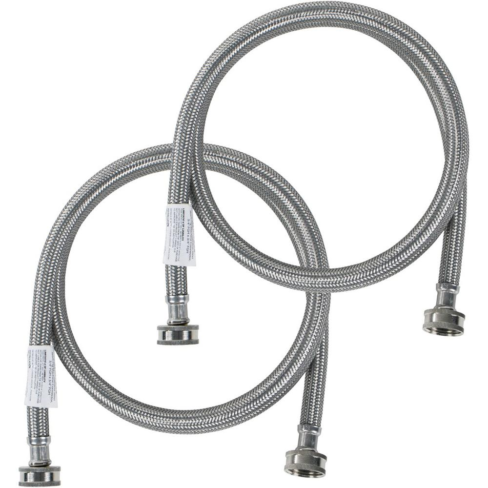 CERTIFIED APPLIANCE ACCESSORIES 5 ft. Braided Stainless Steel Washing Machine Hoses (2-Pack), Silver For years, licensed plumbers, electricians and appliance installers have relied on CERTIFIED APPLIANCE ACCESSORIES for their power cords, hoses and connectors. Now you can too. Enjoy the convenience offered by this 2 pack of washing machine hoses from CERTIFIED APPLIANCE ACCESSORIES. Their flexibility and durability ensure a reliable connection for your next home installation project. These high-quality washing machine hoses have been thoroughly tested and are backed by a 5-year limited warranty. Always consult your appliances installation instructions. Check your appliance's manual for the correct specifications to ensure these are the right hoses for you. Thank you for choosing CERTIFIED APPLIANCE ACCESSORIES Your Appliance Connection Solution. Color: Stainless Steel.