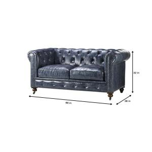 Swell Home Decorators Collection Gordon Blue Leather Loveseat Andrewgaddart Wooden Chair Designs For Living Room Andrewgaddartcom