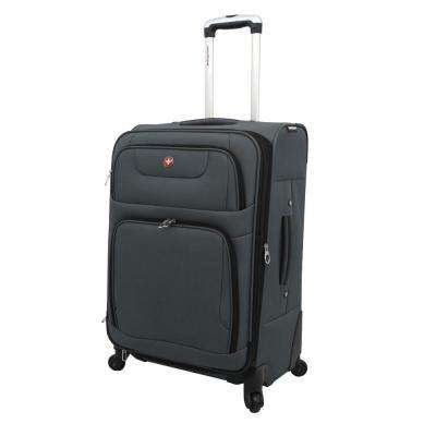 24 in. Gray and Black Spinner Suitcase