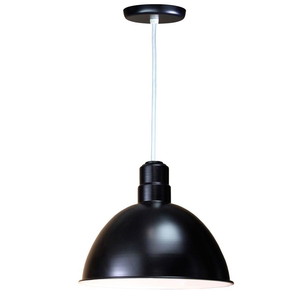1-Light Outdoor Hanging Black Deep Bowl Pendant