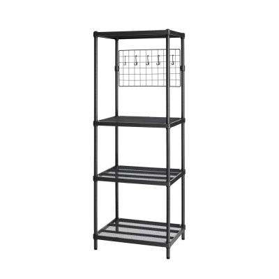 MeshWorks 4-Shelf Metal Black Freestanding Utility Grid Unit