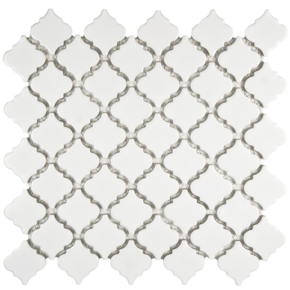 Merola Tile Hudson Tangier Glossy White Porcelain Mosaic Tile - 6 in. x 6 in. Tile Sample