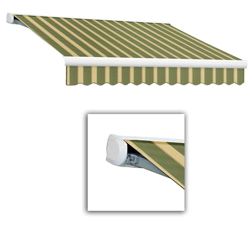 AWNTECH 10 ft. Key West Full-Cassette Left Motor Retractable Awning with Remote (96 in. Projection) in Olive/Alpine/Tan
