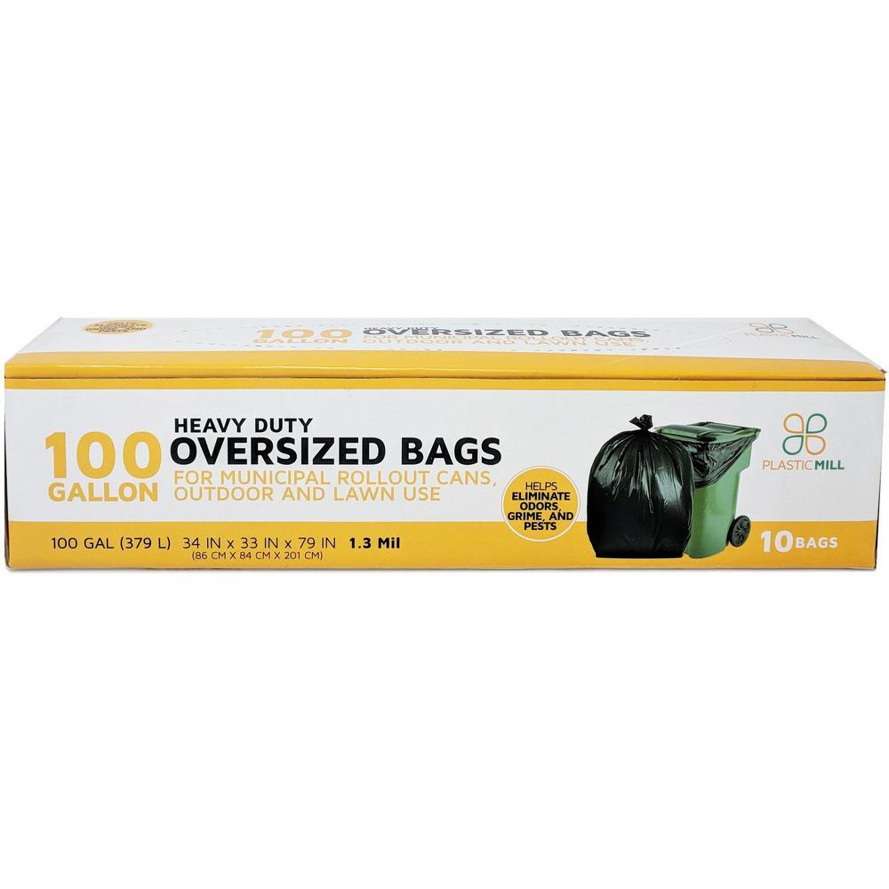 67 in. W x 79 in. H. 100 Gal. 1.3 mil Black Trash Bags (10-Count)