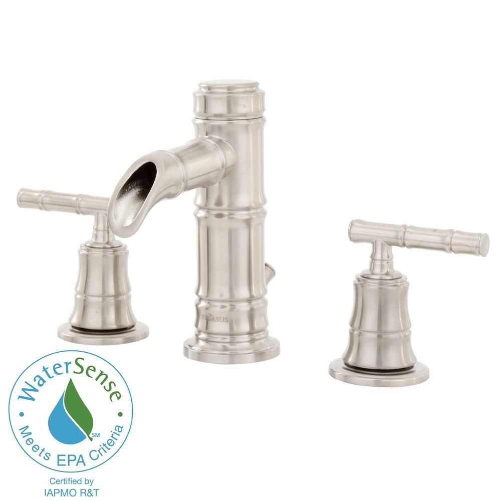 Pegasus Bamboo 8 in. Widespread 2-Handle Low-Arc Bathroom Faucet in Brushed Nickel