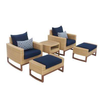 Mili 5-Piece Wicker Patio Deep Seating Conversation Set with Sunbrella Navy Blue Cushions