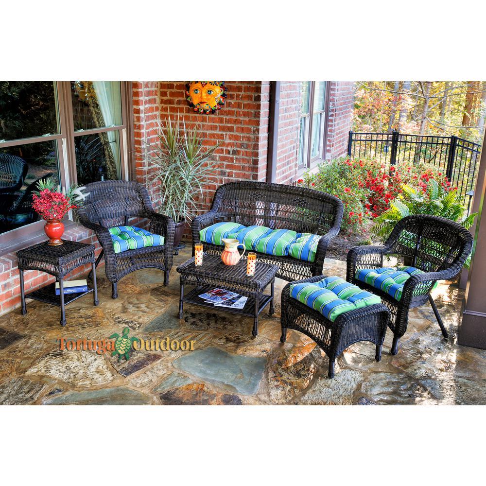 Portside Dark Roast 6-Piece Wicker Patio Seating Set with Haliwell Caribbean Cushions