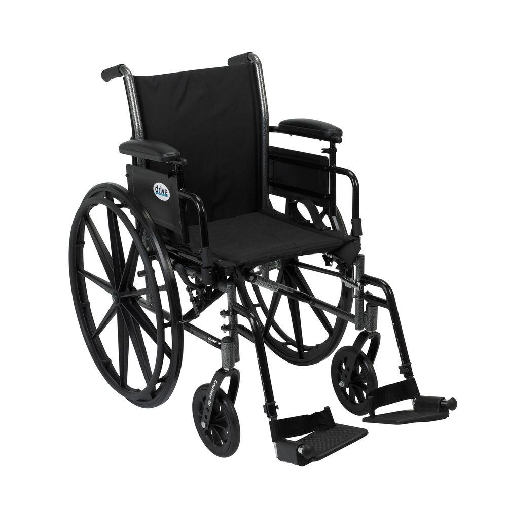 """Drive """"Cruiser III Light Weight Wheelchair with Flip Back Removable Arms, Adjustable Height Desk Arms, Swing away Footrests, 18"""""""""""