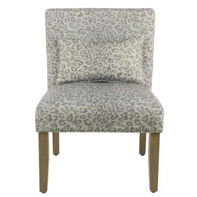 Gray Cheetah Parker Accent Chair with Pillow