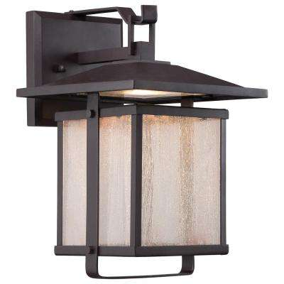 Hillsdale 10.75 in. Dorian Bronze Outdoor Integrated LED Wall Mount Lantern