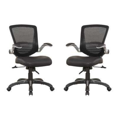 Walden Black PU Leather Ergonomic Office Chair (Set of 2)
