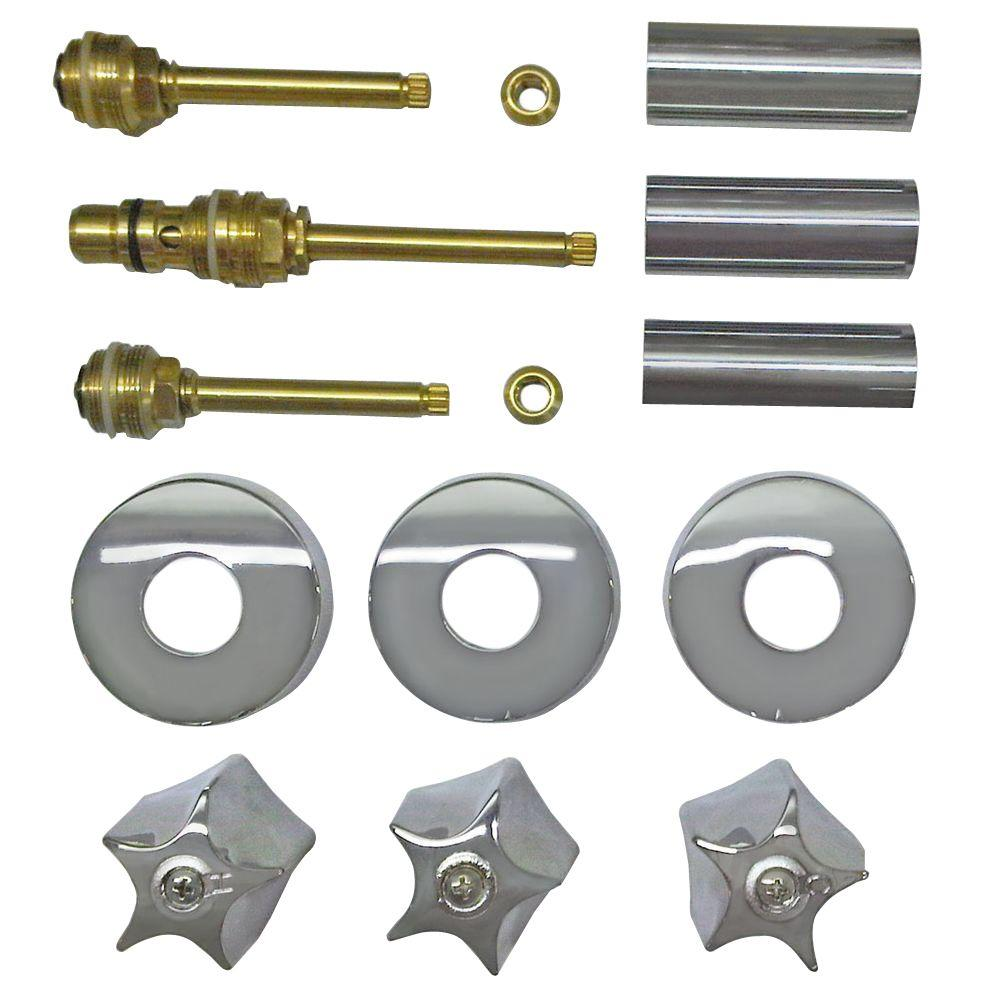 Binford 3 Valve Rebuild Kit for Tub and Shower with Chrome Handles for Savoy