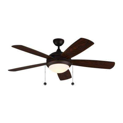 Discus Classic 52 in. Integrated LED Roman Bronze Ceiling Fan with Light Kit