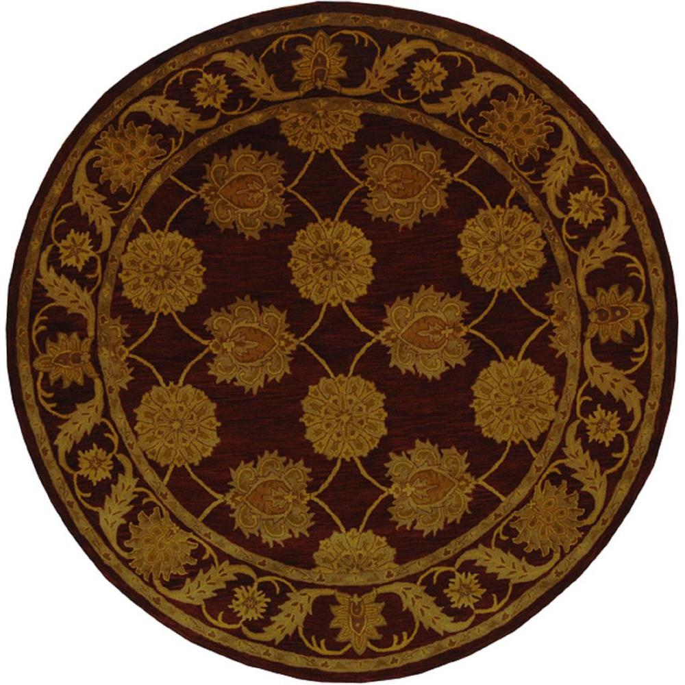 safavieh heritage maroon 4 ft x 4 ft round area rug hg314b 4r the home depot. Black Bedroom Furniture Sets. Home Design Ideas