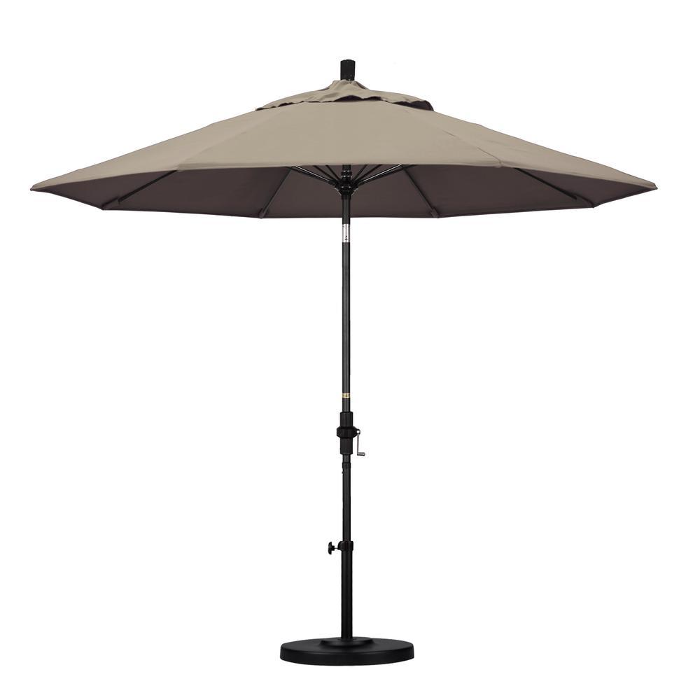 9 ft. Matted Black Aluminum Market Patio Umbrella with Fiberglass Ribs Collar Tilt Crank Lift  in Taupe Sunbrella