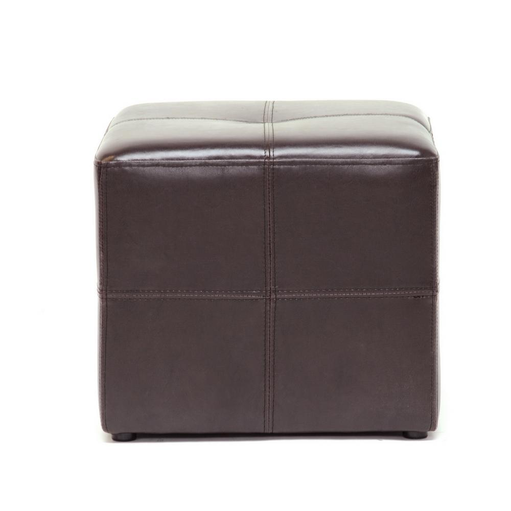Leather Cube Ottoman Studio Nox Foot Stool Rest Pouf