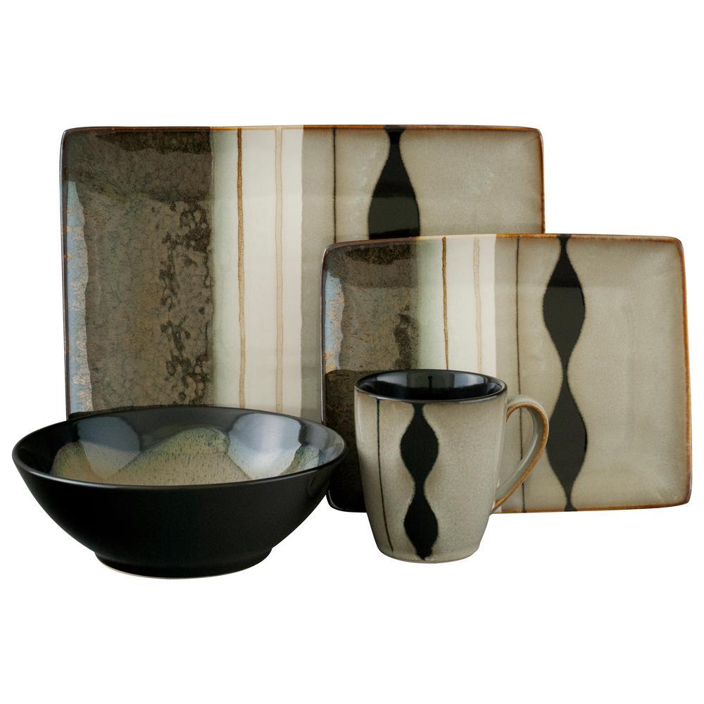Prelude Black 16-Piece Dinnerware Set