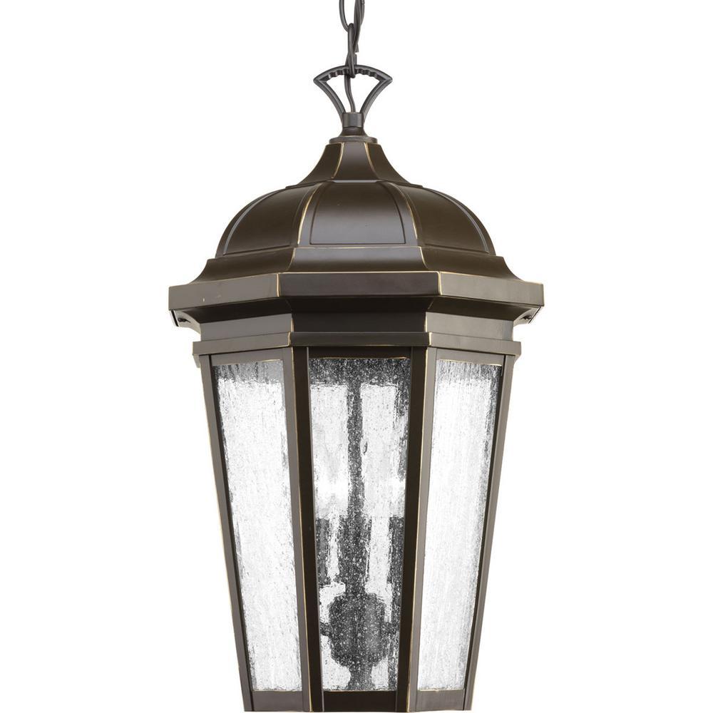 Progress Lighting Verdae Collection 3 Light Outdoor Antique Bronze Hanging Lantern