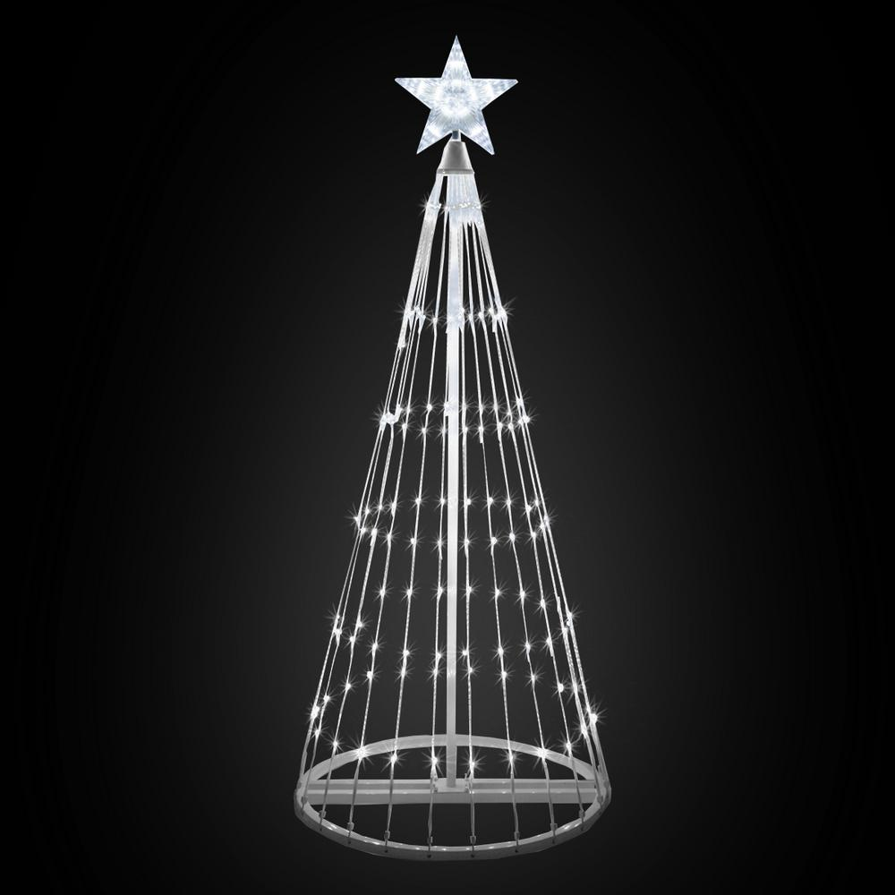 Kringle Traditions 48 in. Christmas Cool White LED Animated Lightshow Cone Tree with 154 Lights and Star Topper