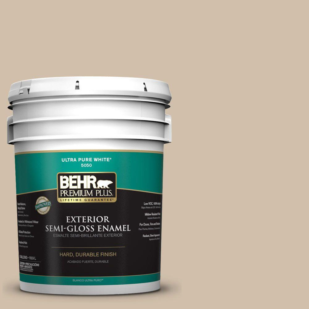 BEHR Premium Plus 5-gal. #PPF-32 Light Rattan Semi-Gloss Enamel Exterior Paint