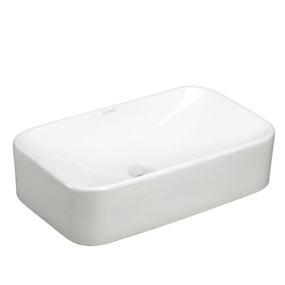 Home Depot Bathroom Vessel Sinks: Elanti Rectangle Vessel Bathroom Sink In White-EC9848