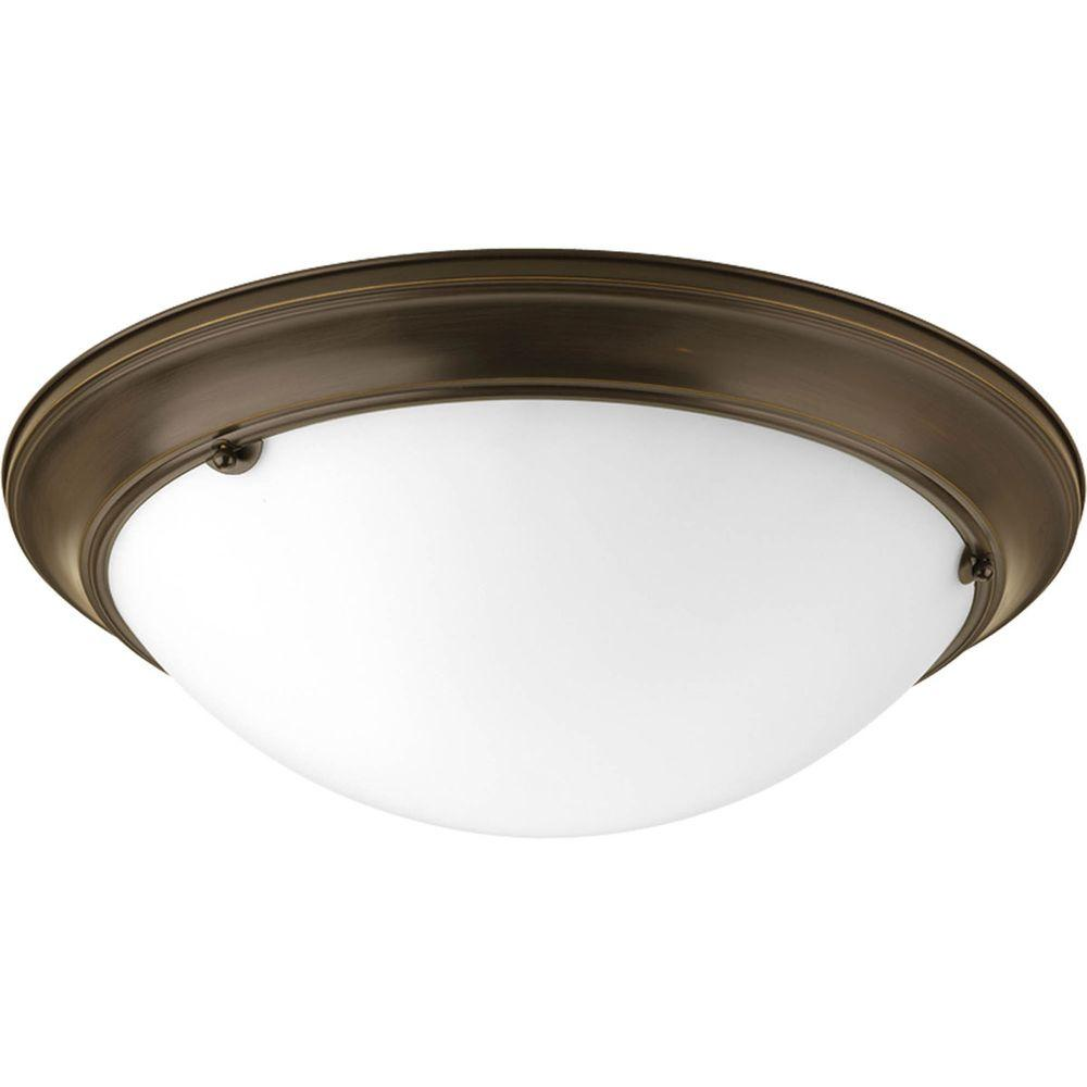 Eclipse Collection 3-Light Antique Bronze Flushmount with Satin White Glass