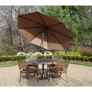 7 Piece Aluminum Outdoor Dining Set With Oatmeal Cushions And Brown Umbrella Hd2011t 2104s4 Om 4005bn 4101 11 Ab The Home Depot