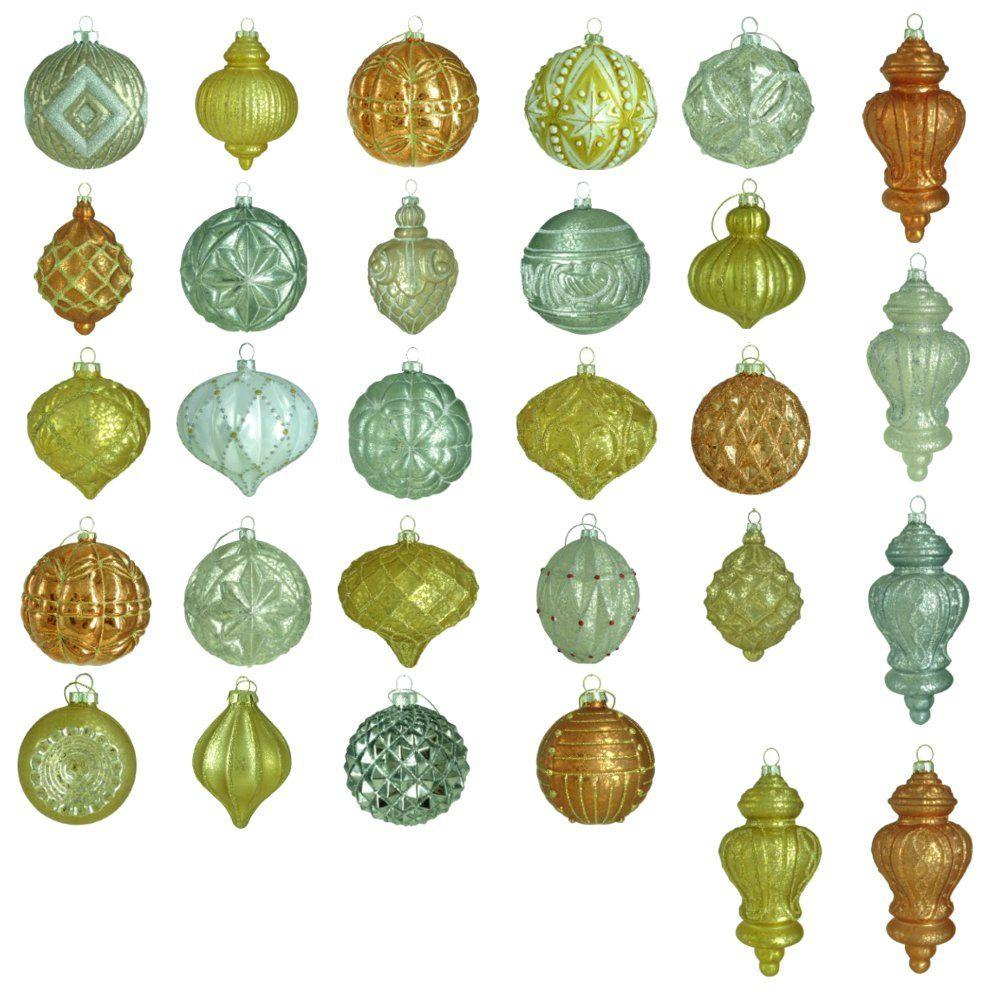 Martha stewart living holiday shimmer glass ornament set for Home hardware christmas decorations