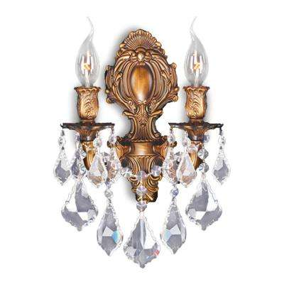 Versailles 2-Light French Gold Finish with Clear Crystal Medium Wall Sconce