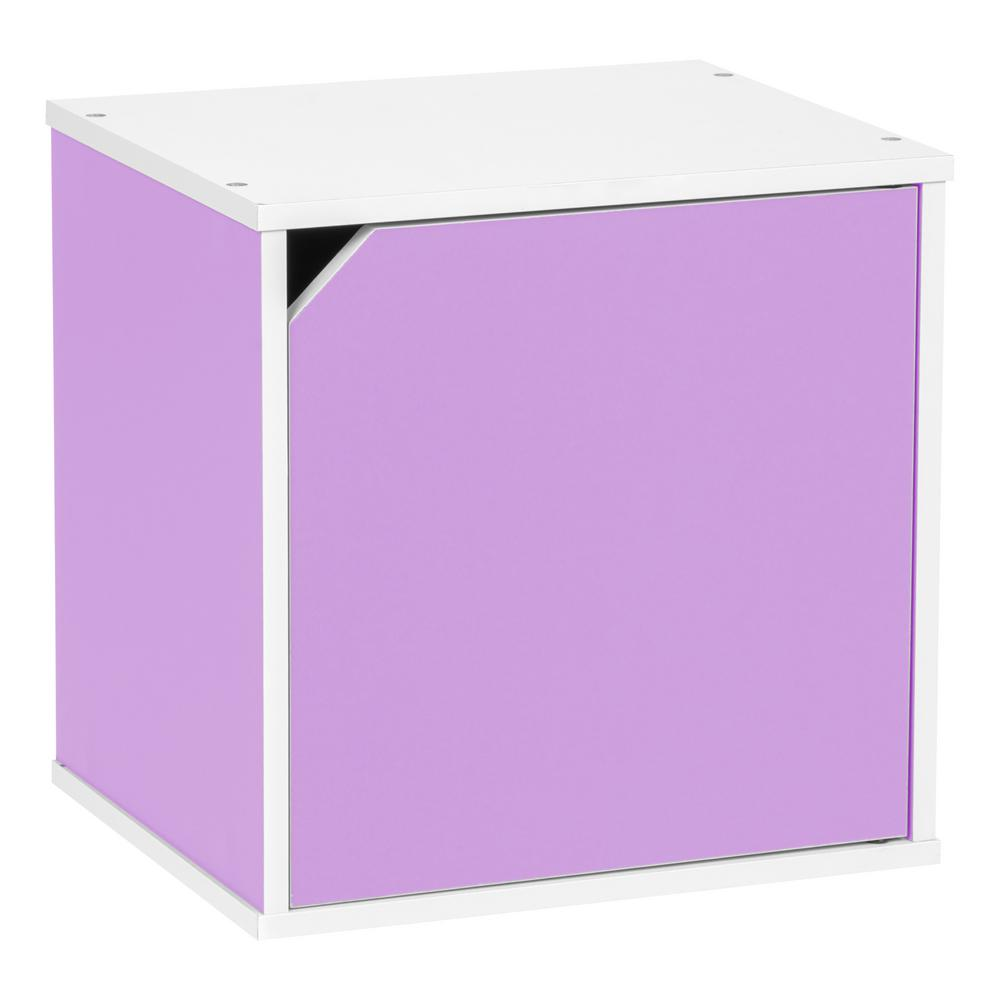 BAKU Modular Purple Wood Cube Box with Door
