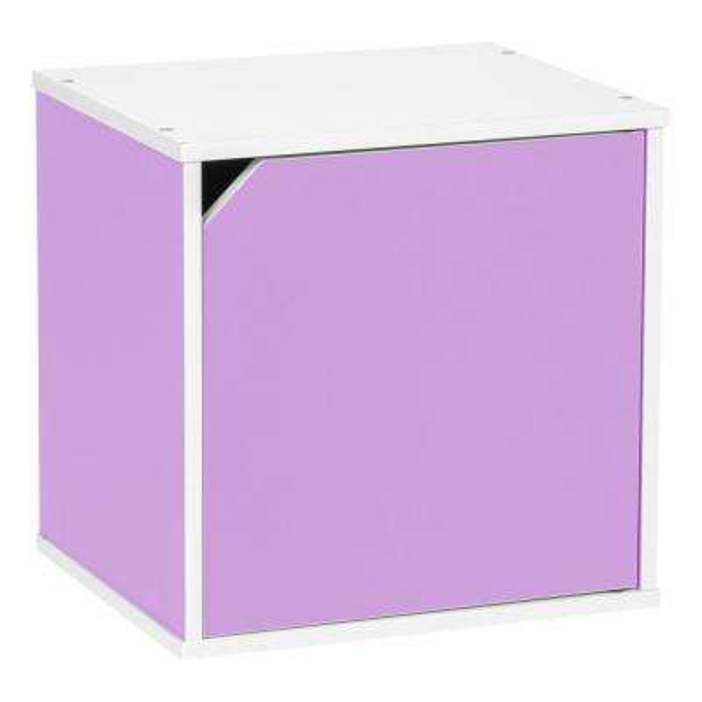 BAKU  Modular Purple Wood Cube Box with Door