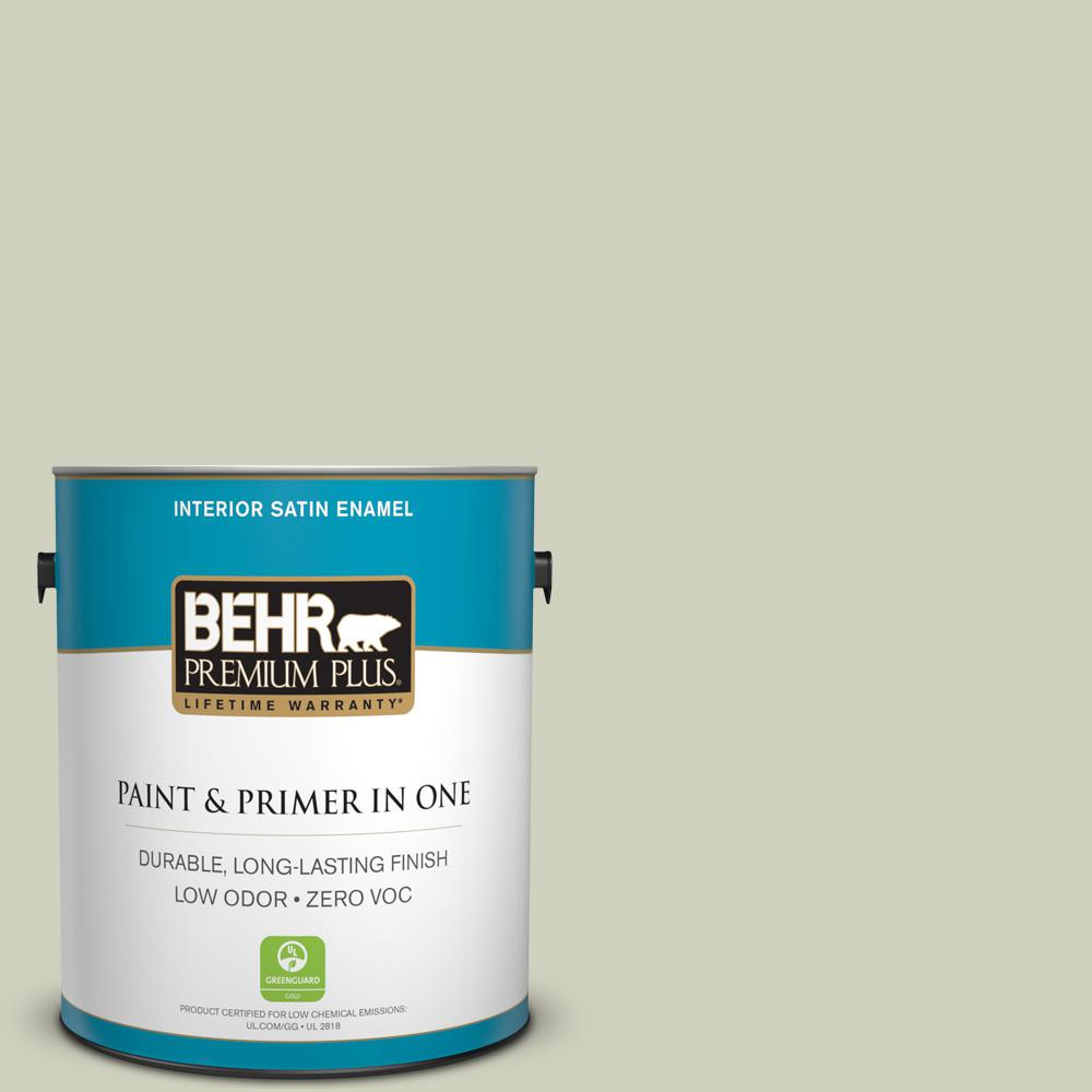 BEHR Premium Plus 1-gal. #400E-3 Mountain Haze Zero VOC Satin Enamel Interior Paint
