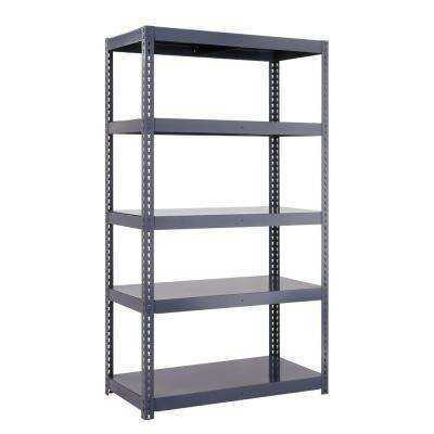 96 in. H x 36 in. W x 18 in. D 5-Shelf High Capacity Boltless Steel Shelving Unit in Gray