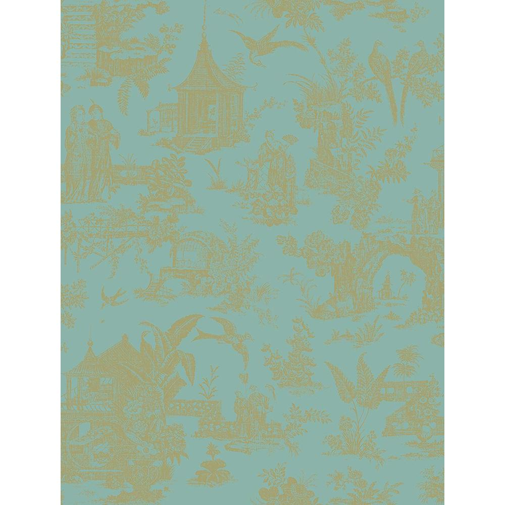 Beacon House Zen Garden Turquoise Toile Wallpaper Sample