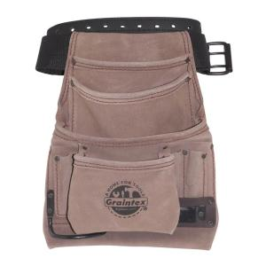 10-Pocket Nail and Tool Pouch with Belt Suede leather