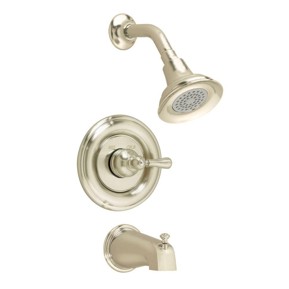 Hampton 1-Handle Tub and Shower Faucet Trim Kit in Brushed Nickel