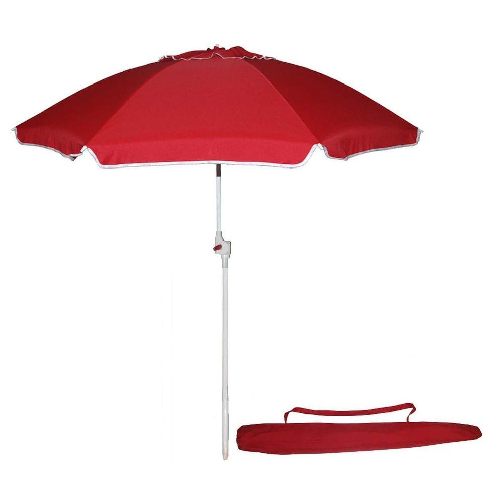 Kingstate Portable 7 Ft Beach Patio Umbrella In Red