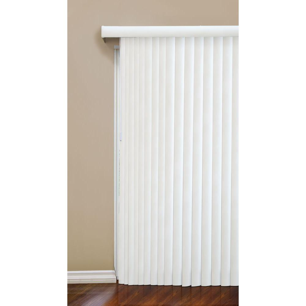 Hampton Bay Faux Wood 3 5 In Vertical Blind 78 In W X 84 In L The Home Depot