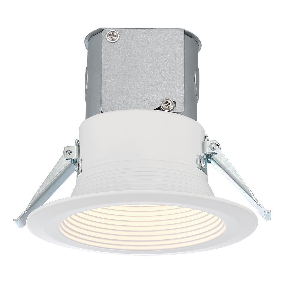 EnviroLite Easy-Up 4 in. White Baffle Recessed Integrated LED Kit at 93.4 CRI, 3000K, 618 Lumens