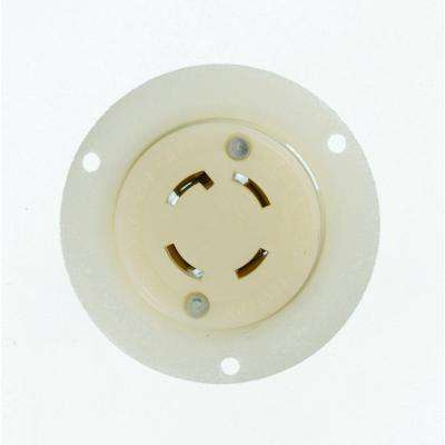 30 Amp 125/250-Volt Flanged Outlet Grounding Locking Receptacle, White