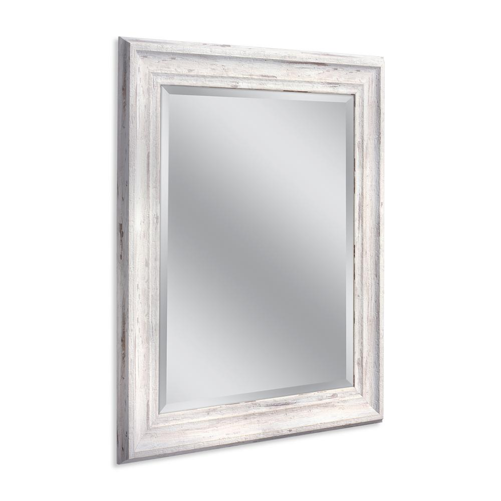 Deco Mirror Farmhouse 29 in. W x 35 in. H Framed Wall Mirror in White