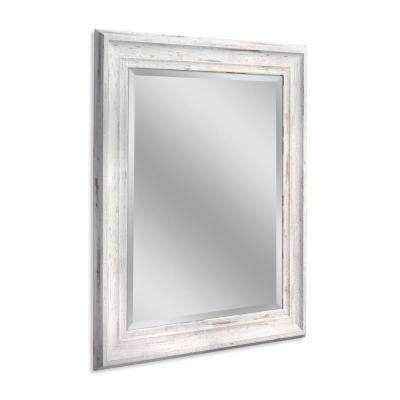 Farmhouse 29 in. W x 35 in. H Framed Wall Mirror in White