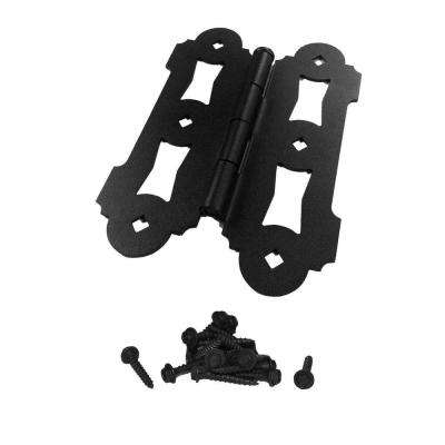 8 in. Black Powder Coated Steel Ornamental Gate Butterfly Hinge