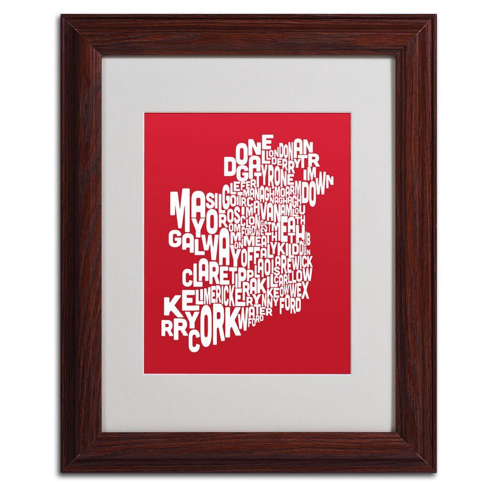 11 in. x 14 in. Ireland Text Map - Red Matted