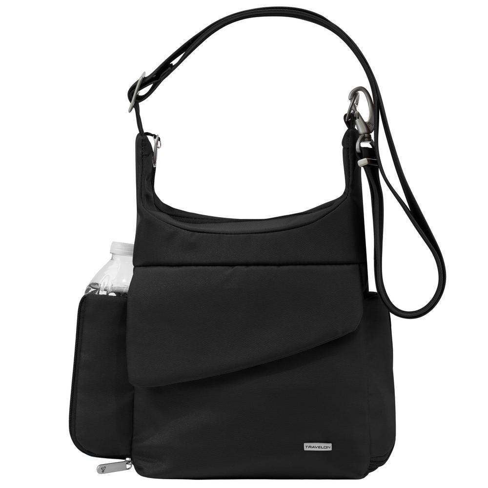 Travelon Anti Theft Black Poly Messenger Bag