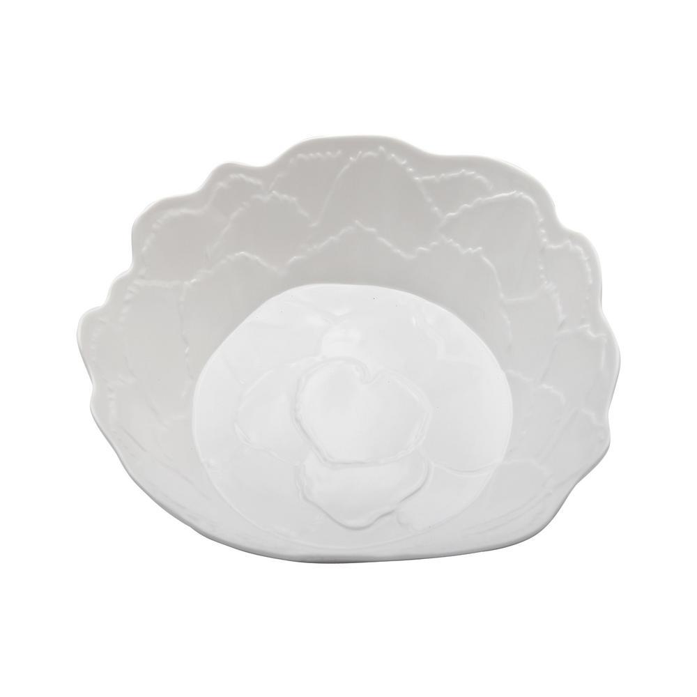 Botanical Galax Leaf 12in. Porcelain White Shallow Bowl