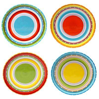 Mariachi Multi-Colored 8.75 in. Salad Plate (Set of 4)