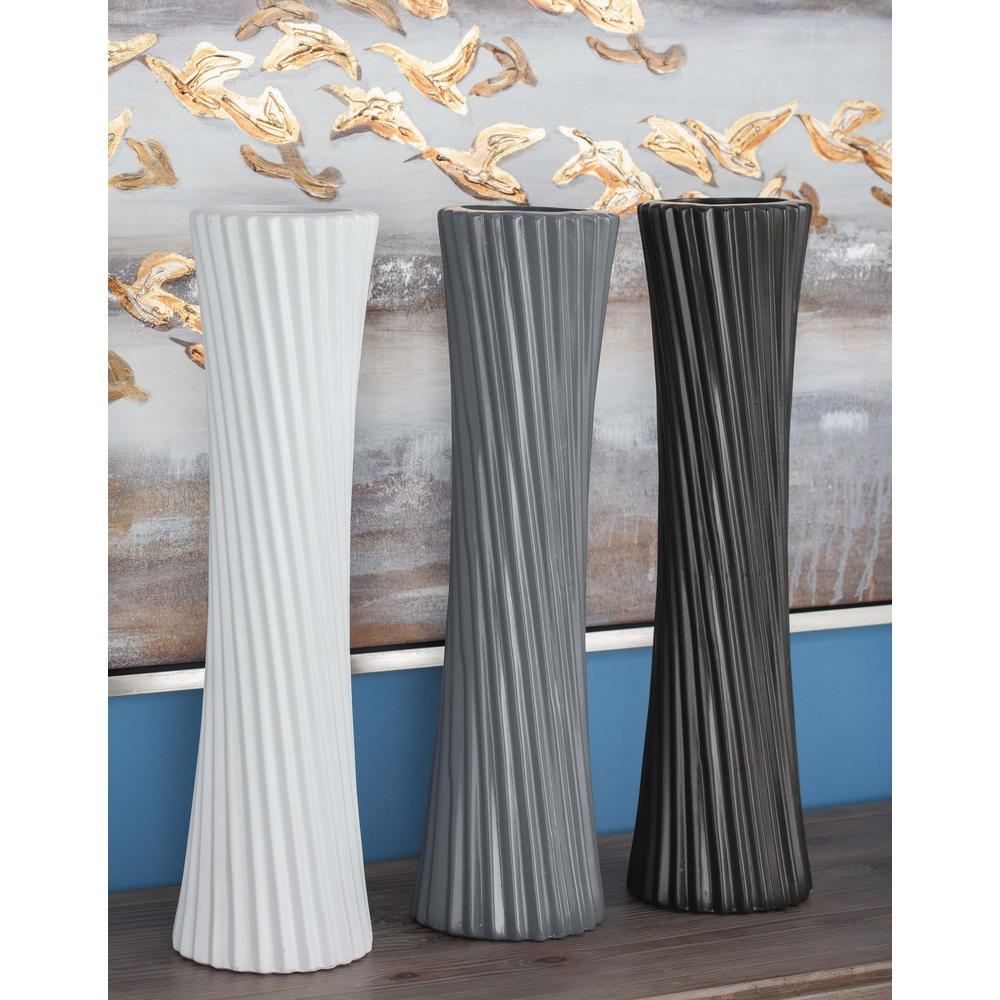 23 in. Ceramic Decorative Vases in Gray, White and Black (Set