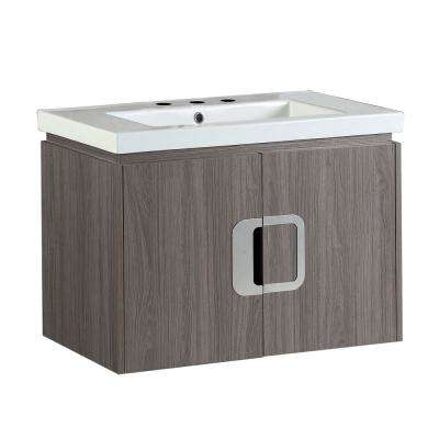 Torrey 30 in. W x 19 in. D x 22 in. H Single Vanity in Gray Brown Oak with Ceramic Vanity Top in White with White Basin